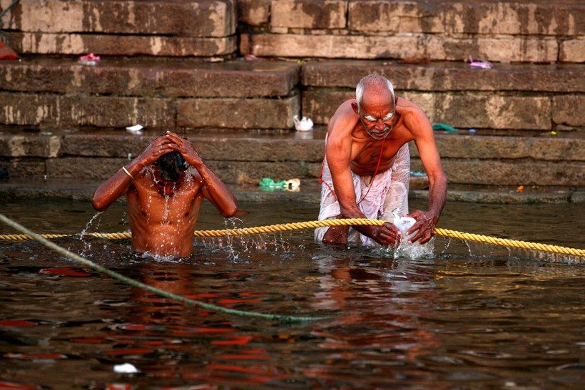 Bathing in the Ganges River, Varanasi India